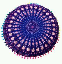 NEW RETRO Round Cushion cover Indian Bohemian Mandala Floor Cushion Cover Purple