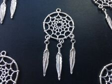 Silver coloured large dream catcher pendant, Pagan, Mystical, Witch 65mm