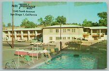San Diego California~Park Travelodge~Lady @ Swimming Pool~Vintage Postcard