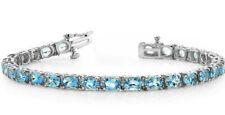 16.00 Ct Swiss Blue Topaz Women Tennis Bracelet 14K White Gold plated 925 Silver