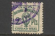 1073-SELLO CUOTA CIUDAD REAL 1939  F.E.T. Y DE LAS J.O.N.S, FALANGE ESPAÑOLA 2 P