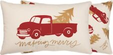 """MAKING MERRY Red Truck Christmas Pillow, 20"""" x 12"""", Primitives by Kathy"""