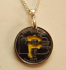 Hand Cut Pennsylvania Quarter with the Pirates Logo made into a Necklace