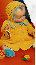 "#148 Doll Prem Baby Girl H20"" DK 7piece Set Coat Dress Hat etc Knitting Pattern"