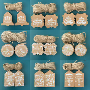 2021 New Christmas Kraft Paper Gift Tags Scallop Label Luggage X50+ 10M Strings