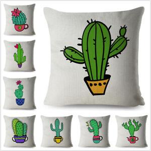 Cartoon Green Plant Cactus Print Throw Textile Cushion Cover Car Home Decor