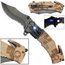LED FLASHLIGHT TACTICAL USMC MARINES FOLDING POCKET KNIFE #464 marine corp new