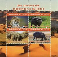 Chad Wild Animals Stamps 2020 MNH Independence Elephants Hippos Leopards 4v M/S