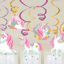 Magical Unicorn Swirl Hanging Ceiling Girls Party Decorations Kit 12pce