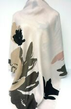 H&M Oversize Scarf Shawl Wrap Blanket Off White Floral Print Soft Warm Fringe