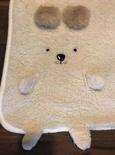"Simply Chic Cream Bear Fluffy Sherpa Throw Blanket W Sleeves Shabby Snuggie 54"""