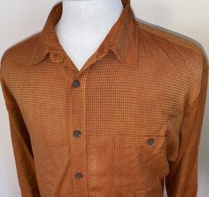 Tommy Bahama Mens L/S Silk Orange Check Plaid Casual Shirt Sz Med