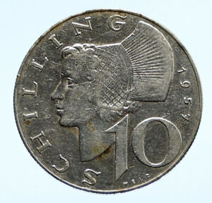 1957 Austria Wachau Woman 10 Schilling OLD Silver Austrian Coin Shield i96461
