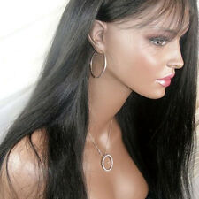 Girls Natural High Ponytail Virgin Brazilian Silky Straight Full Lace Wig Black