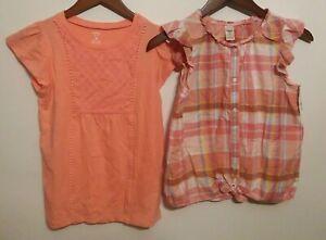 NWT Girls Carters Set of 2 Size 14 Tops Short Sleeve Tops Orange Spring Summer