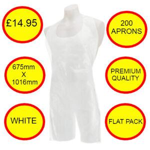 Plastic Disposable Aprons 200 Flat Pack Premium White polythene Medical Aprons