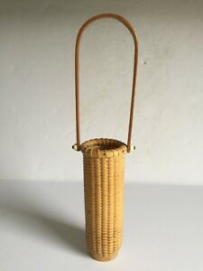 Genuine Authentic Woven Nantucket Lightship Basket Bud Vase Signed Dated 1995