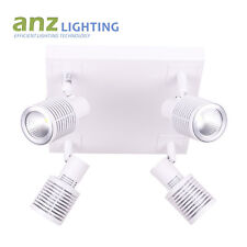 4 Square LED GU10 spotlight in White Finish + 4 led lamps Cool white included