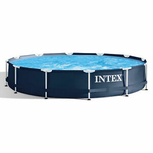 """Intex 28211ST 12' x 30"""" Metal Frame Round Above Ground Swimming Pool with Pump"""