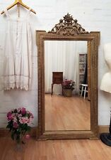 DELIGHTFUL VERY LARGE ANTIQUE FRENCH CHERUB CRESTED GILT GESSO MIRROR - C1900