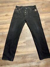 Vintage USA LEVIS Black 501 0660 Button Fly Cowboy Rocker Denim Jeans 36x32