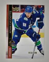 2020-21 UD Series 2 Base Exclusives #425 Adam Gaudette /100 - Vancouver Canucks