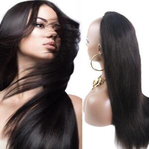 Thick Straight Machine Weft Guleless 100% Indian Remy Human Hair 3/4 Half Wig