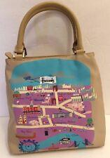 Harrods Nylon London Map Landmark  Handbag Purse Bag Tan Medium Tourist