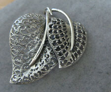 Vintage Danecraft Sterling Silver Double Leaf Filigree Style Pin