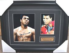 MUHAMMAD ALI SIGNED PHOTO COLLAGE FRAMED WITH GOLD PLAQUE BOXING CHAMPION
