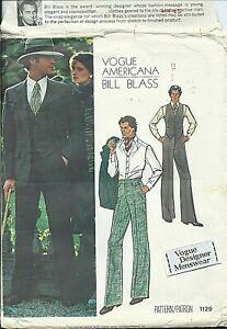 Vogue 1129 sewing pattern BILL BLASS designer JACKET VEST PANTS sew +LABEL UNCUT
