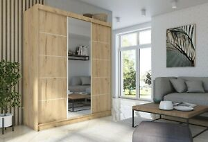 WARDROBE 5 colours 2 drawers 3 sliding doors MIRROR bedroom furniture MRMA 180cm