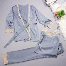 New Luxurious Silk Ladies Womens Set of 3 Pearl Blue Pyjamas Pajamas ladpj177