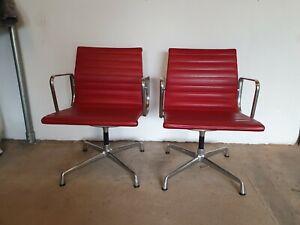 Vitra Charles Eames EA 107 -Chair rot Leder Alu
