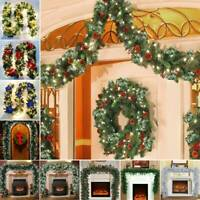 Christmas Wreath Decoration Party Garland Snow Pine Tips Cone Home Festive Berry