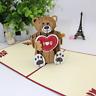Handmade 3D Pop Up Greeting Cards Happy Birthday Postcard Gift Love Teddy Bear