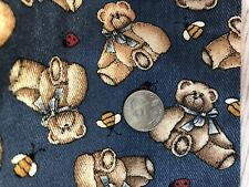 Vintage Denim Teddy Bear Fabric, New, Cotton 44x17 Inch Piece