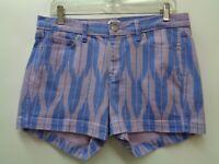 J Crew 8 Blue Pink Shorts Pockets Geometric Stretch Denim Womens