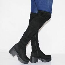 Suede Pull On Casual Over Knee Boots for Women