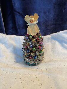 Vintage Handmade Pinecone Christmas Tree Ornament Japan Mercury Glass Angel