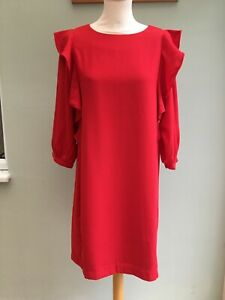 DERHY DRESS SIZE 14 FRILL DETAIL @ SHOULDER WIDE SLEEVES LINED RED ORP £95 BNWT