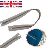 Zip Zipper Silver YKK Closed End Heavy Duty Metal Teeth DIY Sewing Repair 15inch