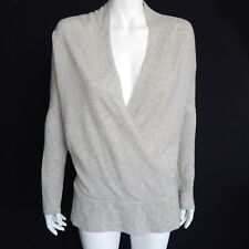 DESIGN HISTORY Pure Cashmere Gray Faux Wrap Sweater Women's Medium - M