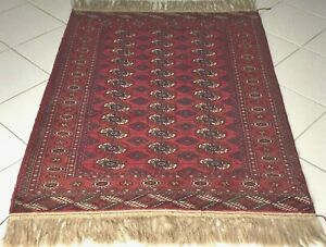 Rossi Turkmen Bokhara Teppich Orient Handgeknüpft Rot Russia Rug Carpet Tapis