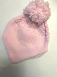BABIES LARGE POM POM HAT FULLY LINED  PINK WHITE WITH CHIN TIE GIRLS-BOYS