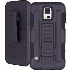 BLACK Samsung S5 NEO Stand Case Shockproof Defender Belt  Rugged Armour Cover