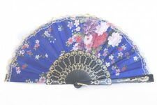 Silk Hand Fan with Golden Lace and Flower Pictures