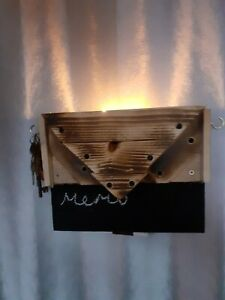 Wooden Candle Holder key holder memo Handmade candle Sconce reclaimed timber