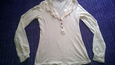 Fabulous Miss Selfridge sexy deep V neck cream long sleeved top work casual