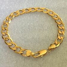 "gcb Plum UK 8"" / 200mm x 6mm 18K GOLD GF unisex curb chain bracelet gift boxed"